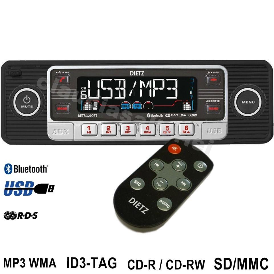 Autoradio Retro Style schwarz USB SD Bluetooth CD MP3 für VW ...