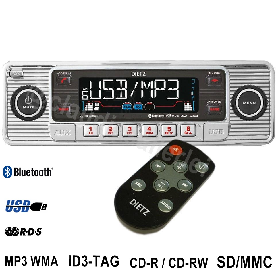 autoradio radio chrom im retro style cd mp3 usb sd bluetooth f r oldtimer ebay. Black Bedroom Furniture Sets. Home Design Ideas
